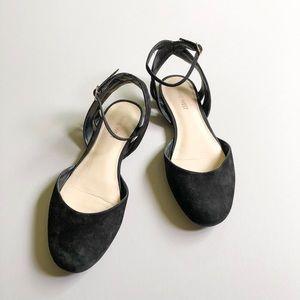 Nine West Black Begany Ankle Strap Ballet Flats 8